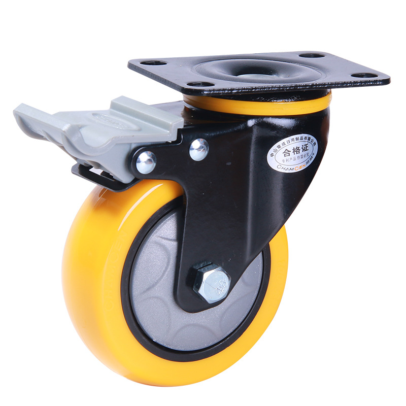 CHANGCHENG Swivel casters 4 inch base with brake anti-winding flatbed trailer trolley steering wheel