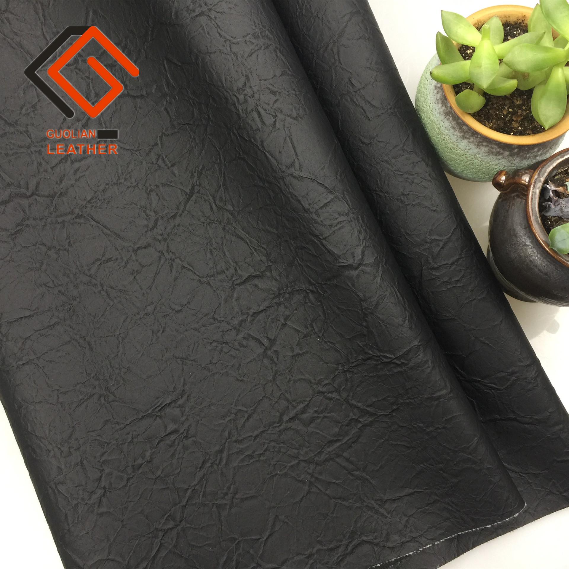 GUOLIAN pvc leather two-color folds retro kraft paper leather handbags sofa shoe fabric