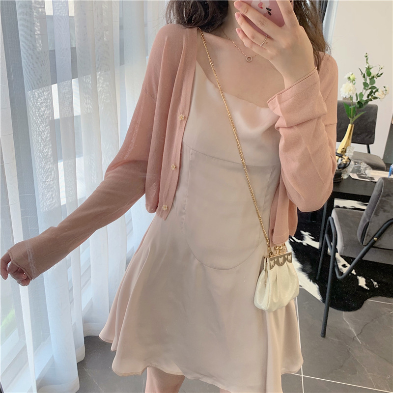 2021 early spring new women's small fragrance sling dress knitted cardigan small two-piece suit fem