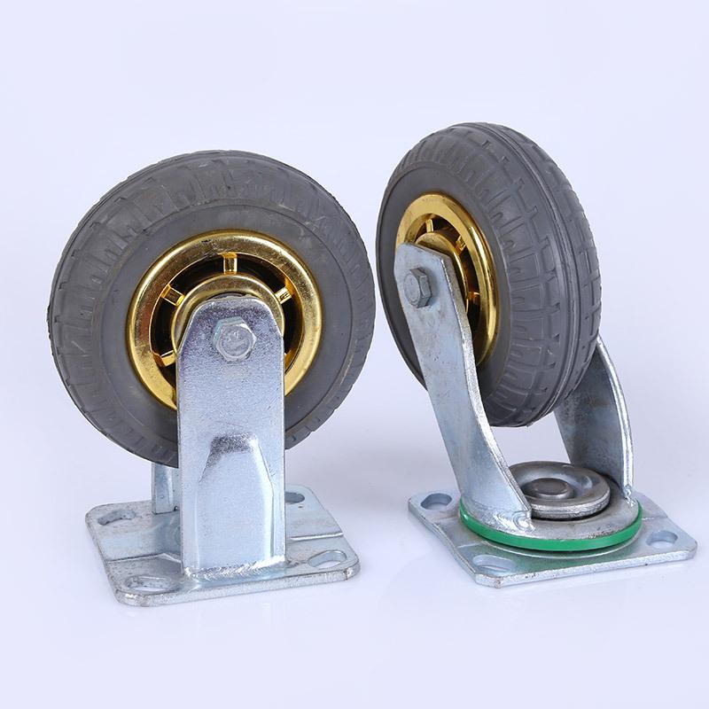 JINBO Rubber Wheel Industrial Steering Wheel Heavy-duty High Elastic Wheel Rubber Wheel Movable Univ