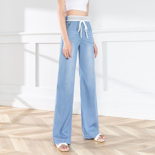 Light color high waist drape wide-leg Tencel jeans women 2021 summer new style Korean ice silk moppi