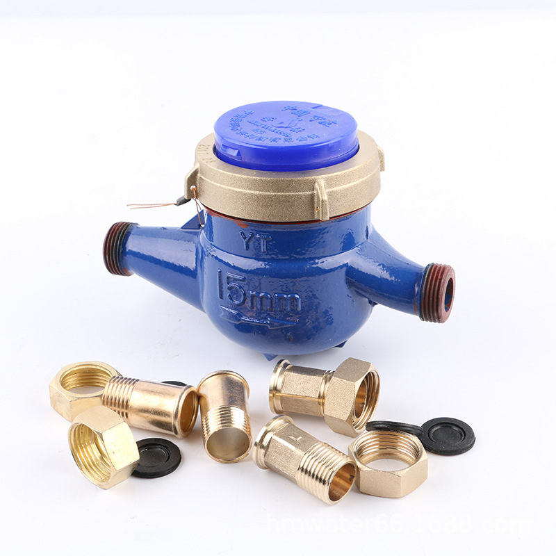 Household 15 horizontal all-iron cold water meter Hot water meter Dry-type wet 4-point rotary-wing w