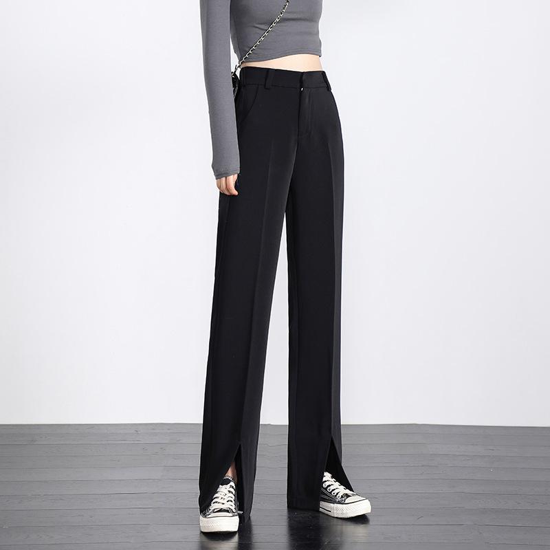 Spring high-waist split suit pants women's split casual pants loose and thin straight wide-leg pant