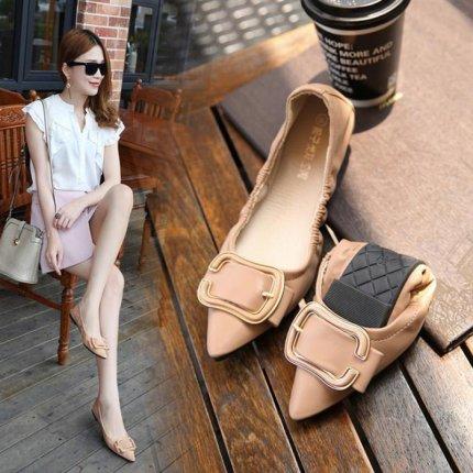 Giày GuangDong Giày bệt mũi nhọn quảng đông phụ nữ 2021 mới phụ nữ mang thai hoang dã giày phẳng lướ