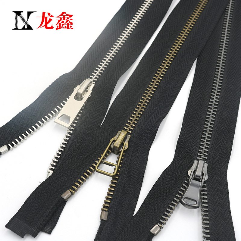 No. 5 metal Y teeth green bronze washable water open tail down leather coat placket luggage clothing