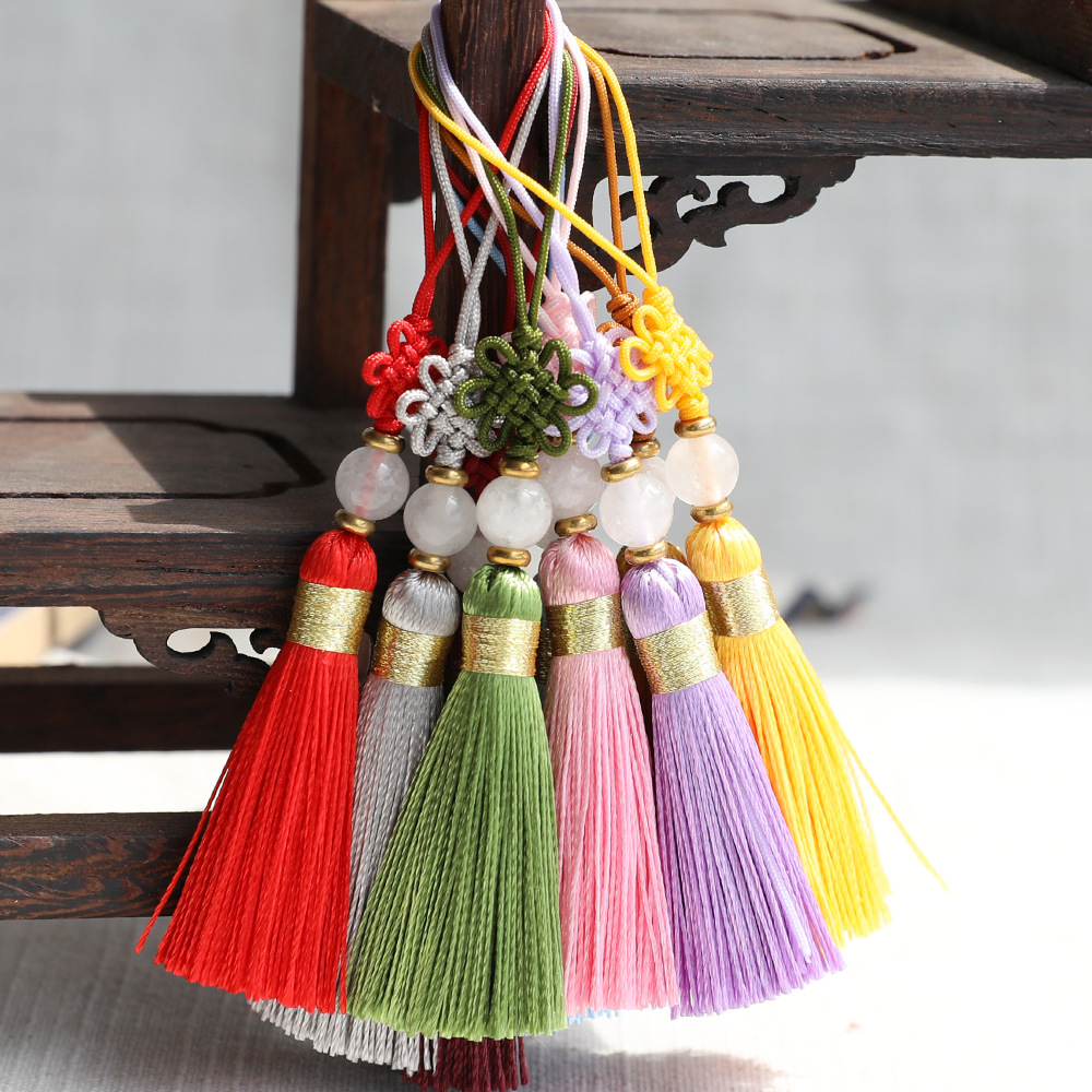 LIANGJIAO Hand-woven bookmark tassel Chinese knot small tassel horns wooden comb invitation card han