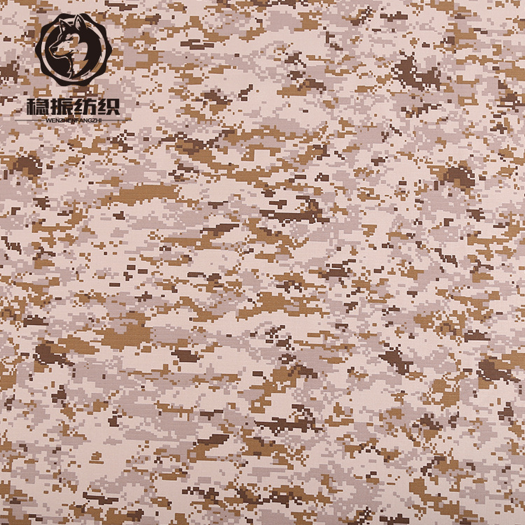 Polyester-cotton blended waterproof American Middle East desert digital anti-tear plaid camouflage f