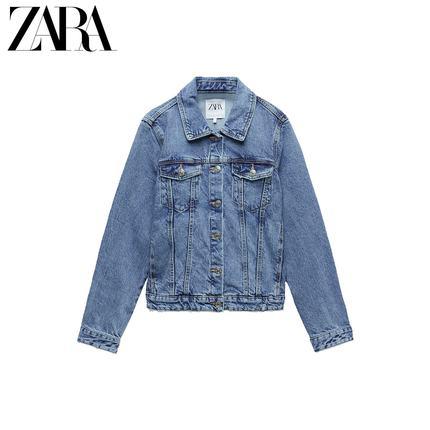 ZARA Áo khoác lửng mùa xuân mới TRF áo khoác denim nữ cơ bản 04743070400