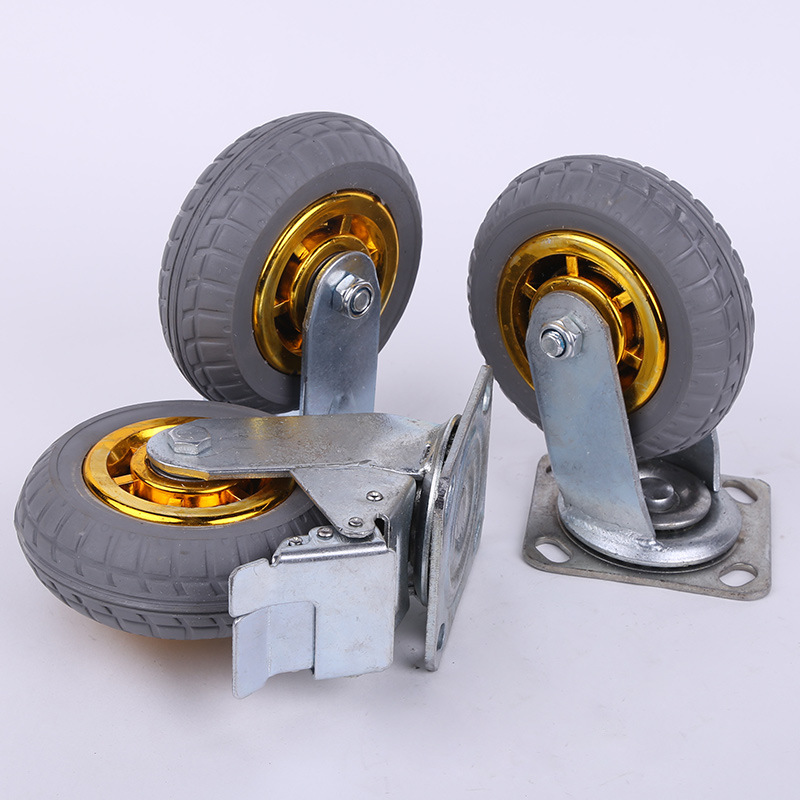 XINRANLONG Gold rubber high elastic rubber wheel 4568 inch universal directional caster with brake f