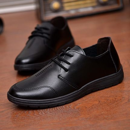 Giày GuangDong Người phục vụ nhà hàng khách sạn Quảng Đông tại nơi làm việc giày da đen nhỏ của nam