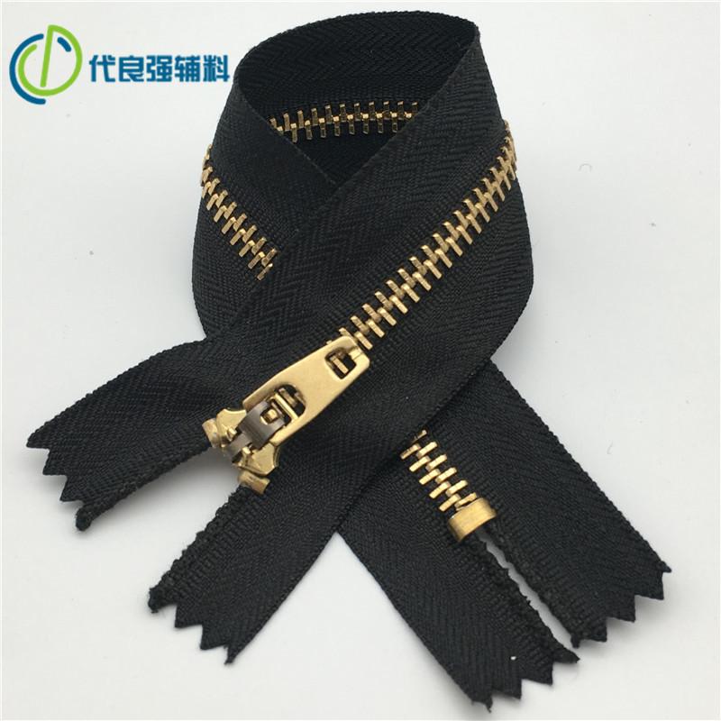 No. 3 and No. 4 metal zipper high-end bronze clothing jeans access control self-locking zipper