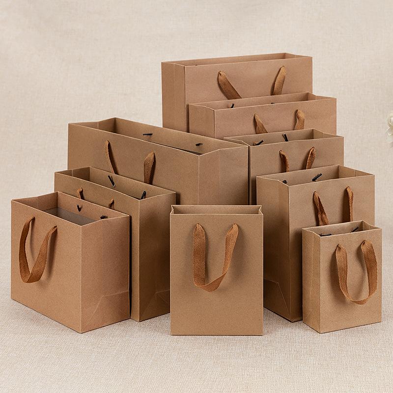 Kraft paper tote bag custom printed logo advertising packaging tote paper bag