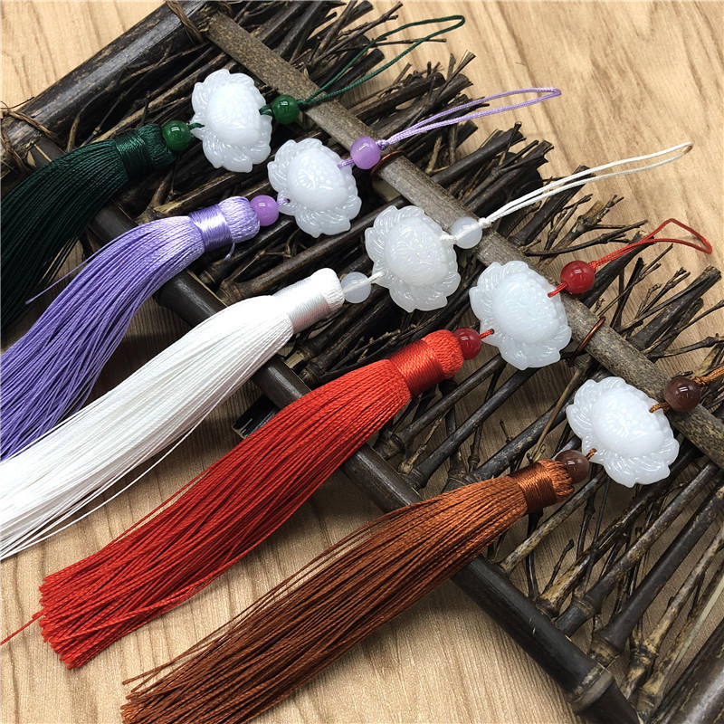 LINGXIU Lotus tassels hanging ears ancient costumes pressed front ancient style Hanfu white jade lot