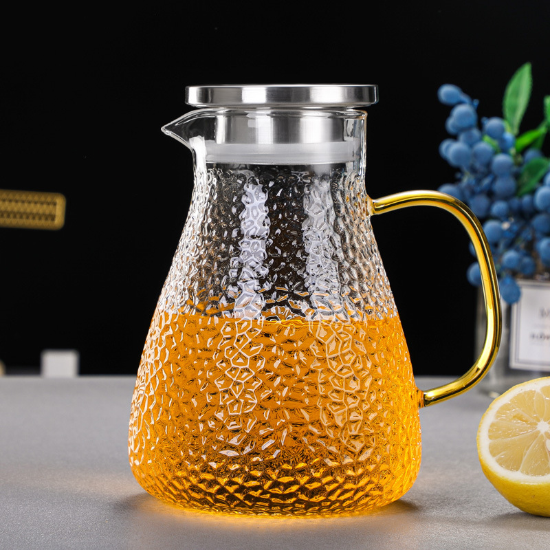 Hammered glass cold kettle high temperature resistant cold kettle household large-capacity lemon sup