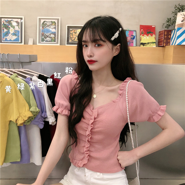 Spring 2020 new Korean version of the net red V-neck short-sleeved sweater women's one-shoulder sho