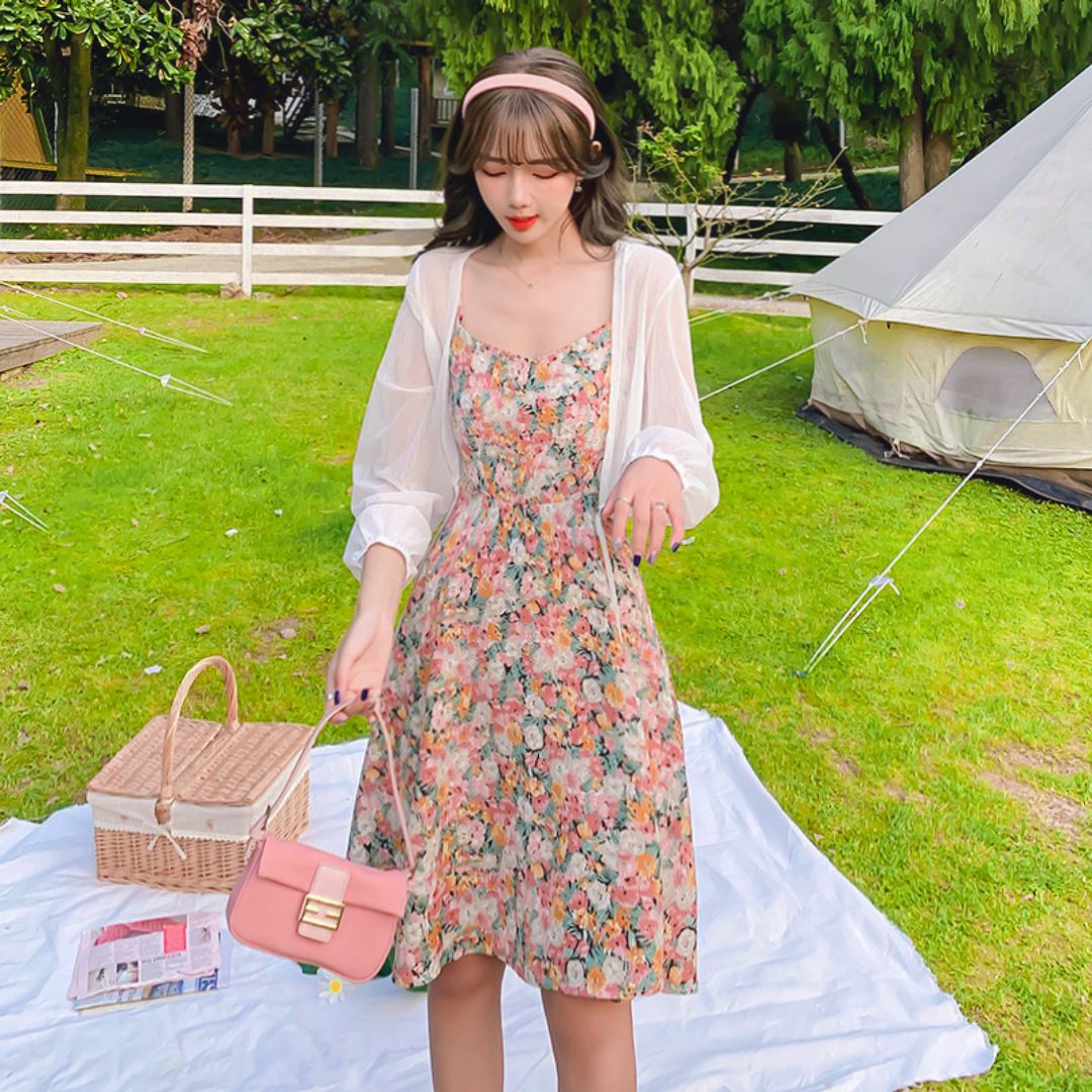 Summer 2021 new women's French first love floral dress subnet red summer suspender skirt two-piece
