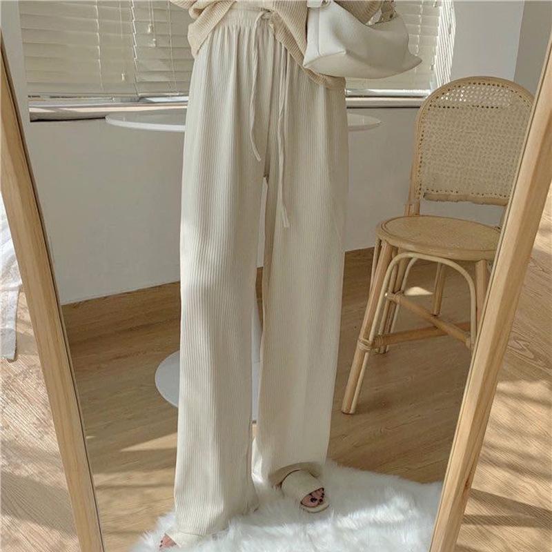 YF New Korean style knitted high-waisted wide-leg pants women's elasticated drape straight gray cas