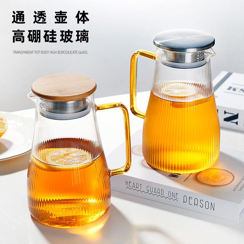 MINGYI Heat-resistant glass cold water jug, tree text, hammered jug, household juice jug, water jug,