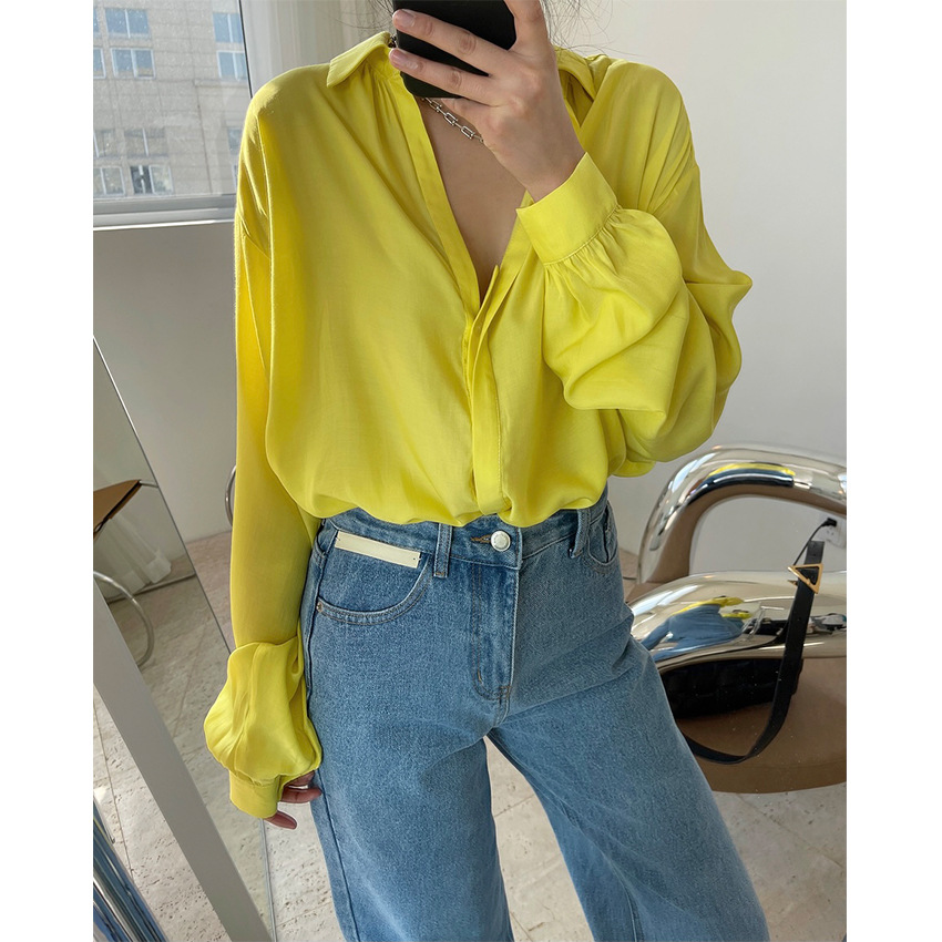 Spring new style French temperament, fashionable draped V-neck shirt loose and thin, transparent sun
