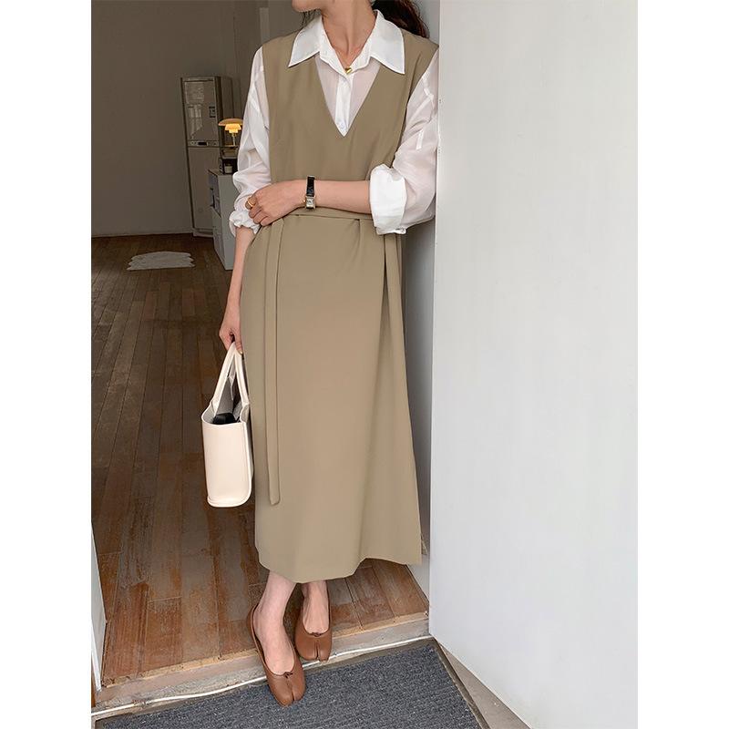 Allo Fu 2021 spring new vest skirt Korean version of sleeveless vest skirt and strap dress