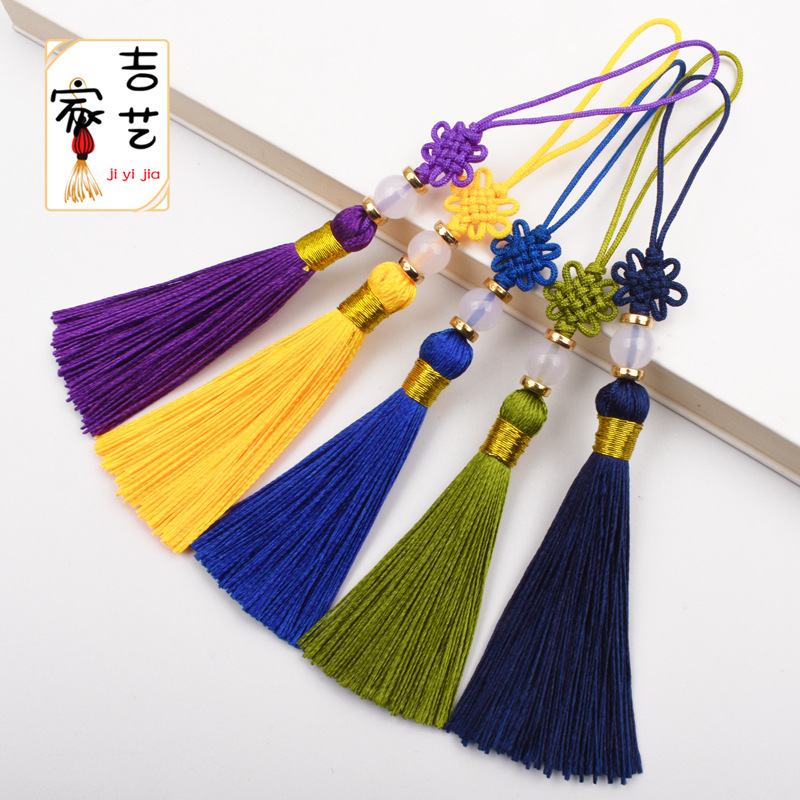 JIYI Small Chinese knot U disk hanging ear packing box tassel pendant jade thread knot with tassel
