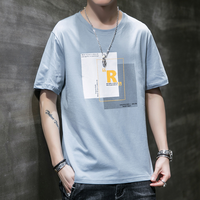 Summer new short-sleeved men's tide brand stream ins loose cotton Hong Kong style t-shirt Korean ha
