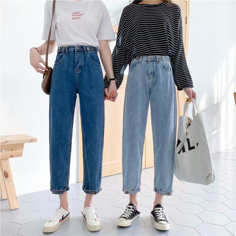High waist jeans women's autumn and winter new straight loose loose wild radish nine-point pants we