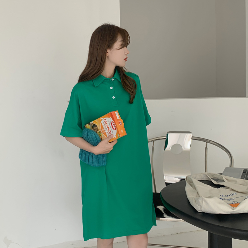 LOVE ALEVEL Qianchun Green Loose Waist Lapel Dress 2021 Summer New Korean Style Loose Lazy Style Pur