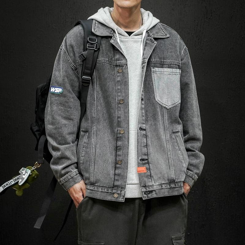 Denim jacket men's spring and autumn new Korean version of the trend of ins handsome tooling men's