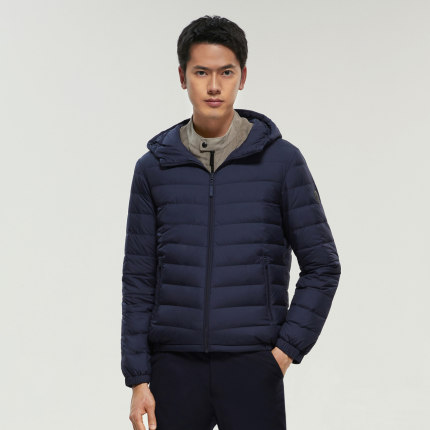 Bosideng Áo khoác lửng  down jacket nam nhẹ và mỏng có mũ trùm đầu ngắn nhẹ giản dị và ấm áp màu ấm