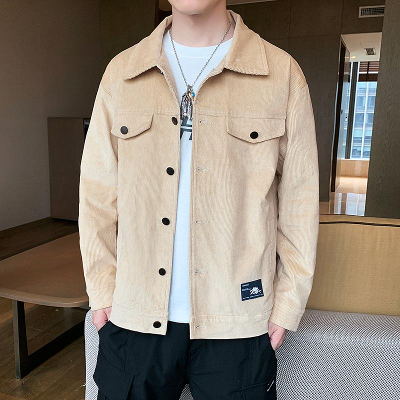 Corduroy jacket men's 2021 new spring Korean version of the trendy clothes tooling plus size men's