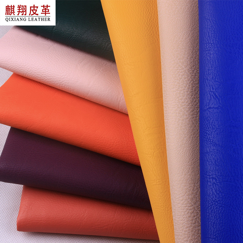QIXIANG Thumbprint pvc leather fabric brushed cloth bottom soft bag hard bag artificial synthetic le