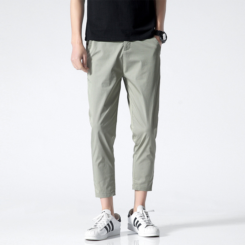 2021 new spring and summer men's trousers solid color casual pants male Korean version of cotton el
