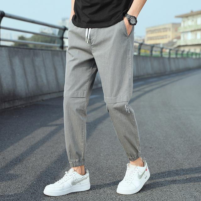 Boys summer thin ice silk casual pants men's 2021 new men's waist nine-point pants men cool Korean