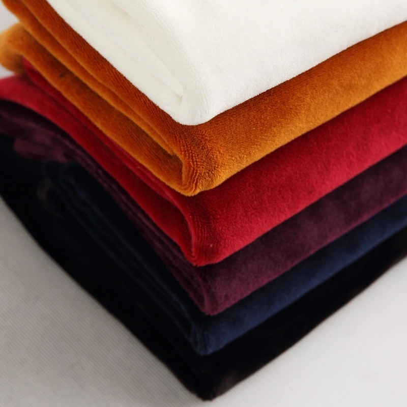 Dyed silver fox velvet knitted fabric Spandex super soft PU coated fabric Sportswear cushion flannel