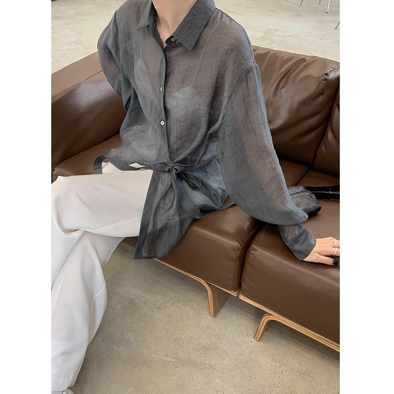 Mulan 2021 spring new irregular lace-up slim-fitting shirt loose temperament silk satin blouse women