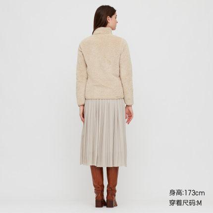 Áo khoác lửng Quần áo Uniqlo nữ dài áo khoác dây kéo lông cừu cực dài (dài tay) 428330 UNIQLO