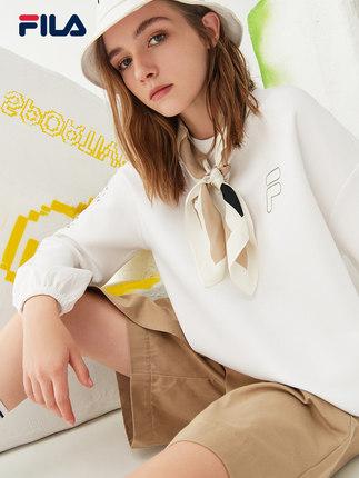 FILA Sweater (Áo nỉ chui đầu) Fila Chính thức Áo len chui đầu nữ Mùa xuân 2021 Mới Thời trang Thông