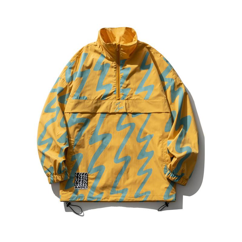 JFSW Not a vulgar 2021 Japanese stand-up collar outer jacket, half zipper drawstring hem, color matc