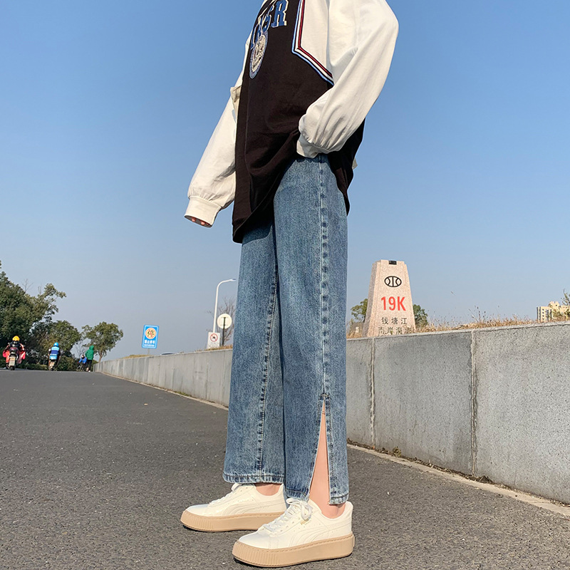 2021 high-waist split jeans female new students loose and thin casual pants wide-leg pants trend
