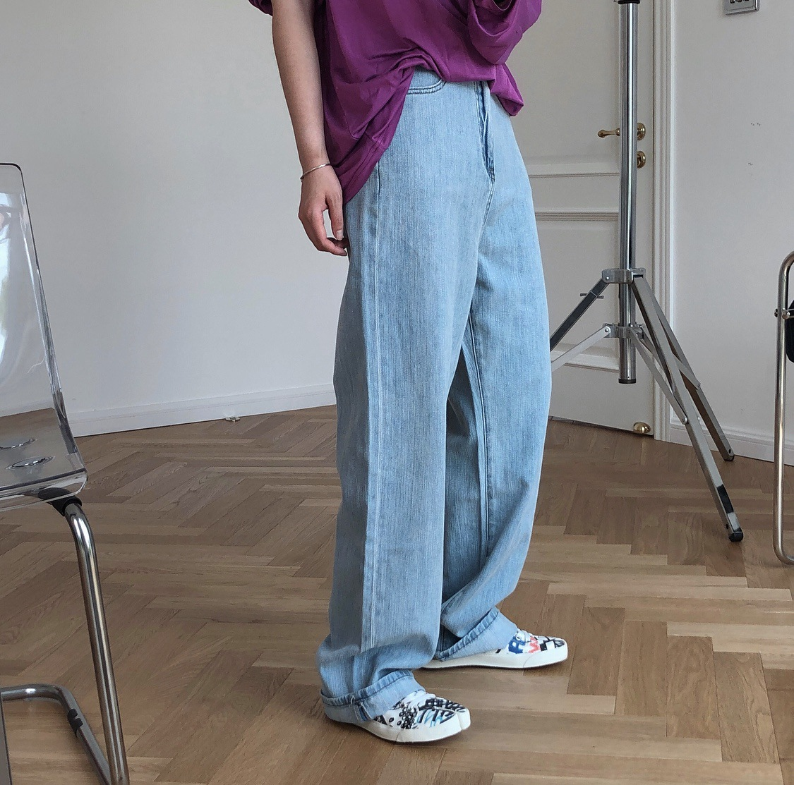 Summer new Korean retro linen high-waisted straight wide-leg jeans loose and tall and thin casual li