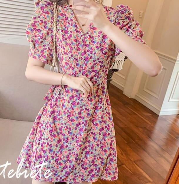 2020 new spring and summer skirt floral dress women's French style thin a-line small
