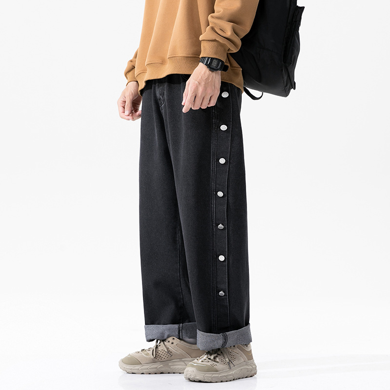Breasted jeans men's 2021 spring Japanese street fashion men's wide-leg trousers American fashion