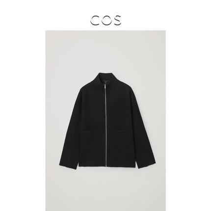 Áo khoác lửng Áo khoác len cổ cao nửa cổ có khóa kéo của phụ nữ COS màu đen 3 sản phẩm mới thu đông