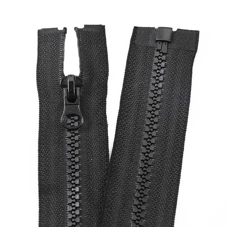 Hard material anti-dropping No. 5 resin open end zipper Plastic teeth zipper with placket for outerw