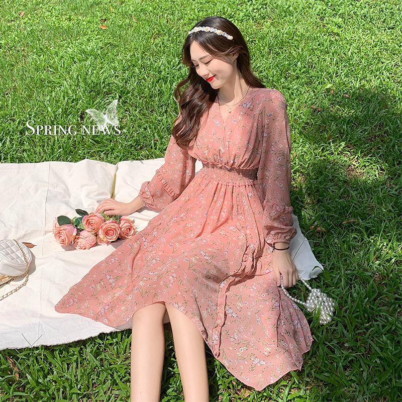 Large size micro fat mm dress with waist and thin temperament autumn wear 2020 new mid-length skirt