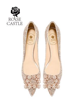 Giày cô dâu  giày cưới màu hồng giày pha lê giày cưới giày cao gót vàng giày cô dâu show Wo váy cưới