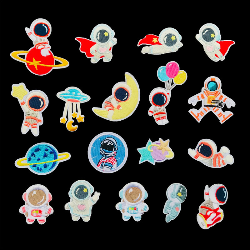 Embroidery cloth stickers astronaut planet space patch stickers clothing shoes bag accessories carto
