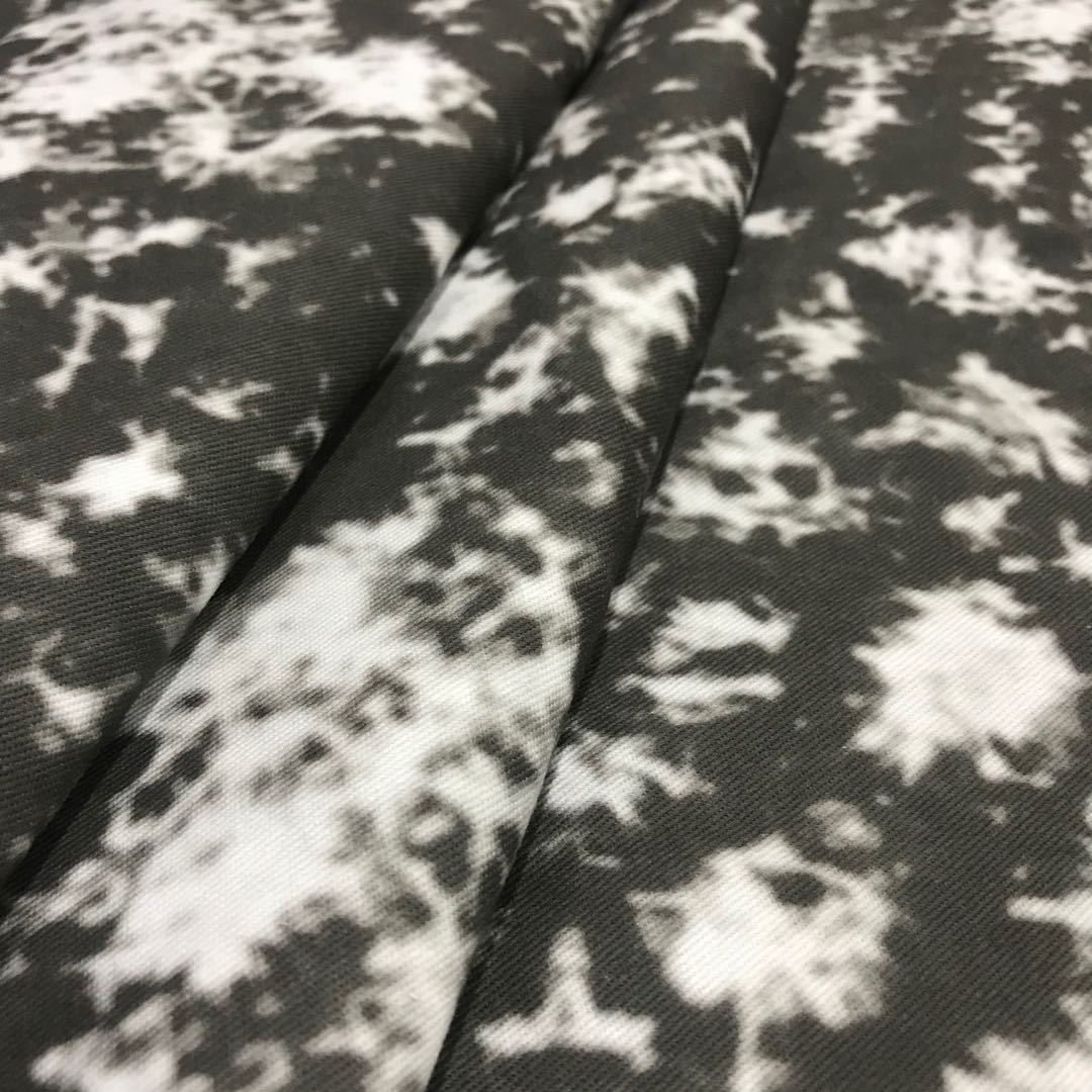 Black and white tie-dye printed cotton twill fabric
