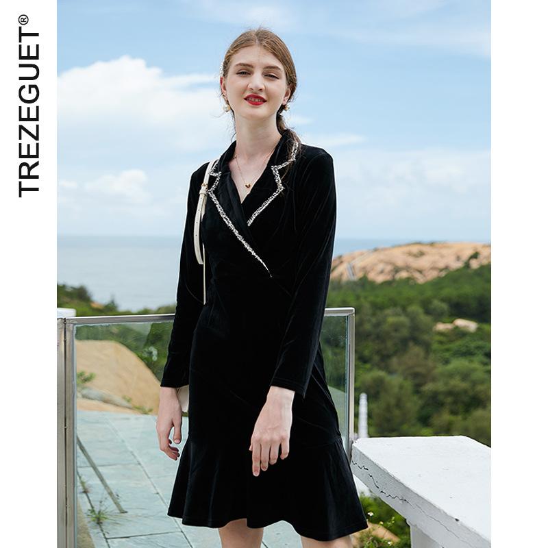 TREZEGUET 2021 new spring women's loose contrast color suit collar dress ladies high waist gold vel